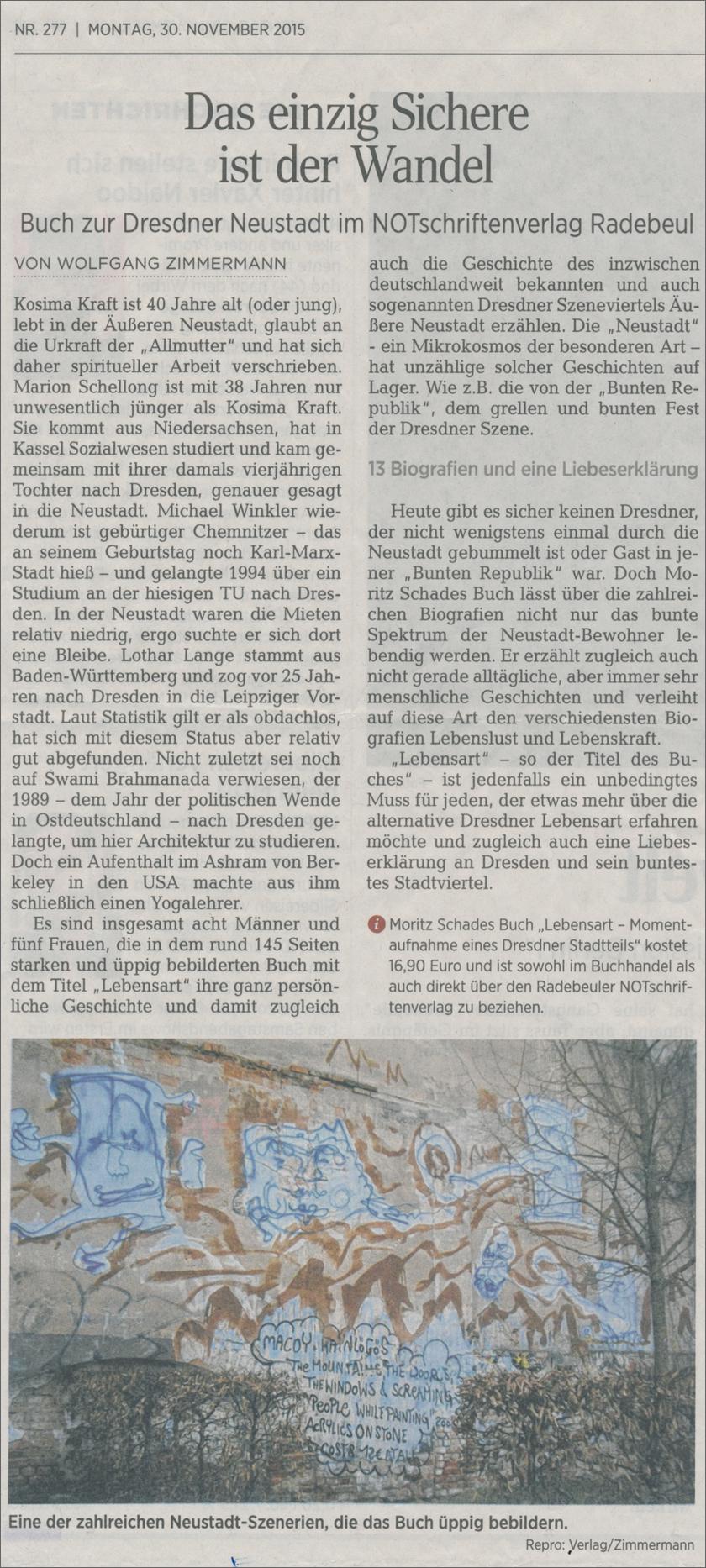 Zeitungsartikel Dresdner Neuste Nachrichten
